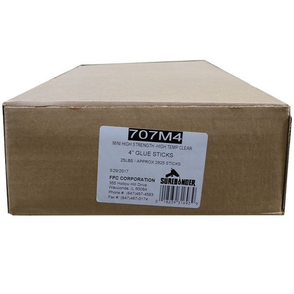 "707M4 Mini Size 4"" High Strength Hot Glue Stick - 25 lb Box"