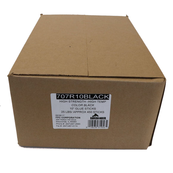 "707R10BLACK Full Size 10"" High Strength Black Hot Glue Stick - 25 lb Box"