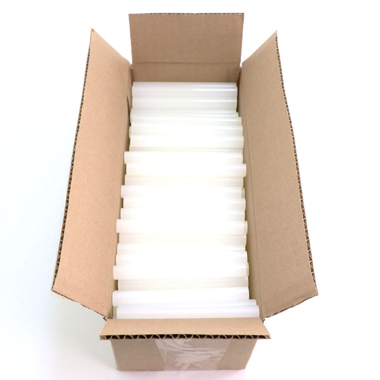 "725R54 Full Size 4"" Clear Hot Glue Stick - 5 lb box"
