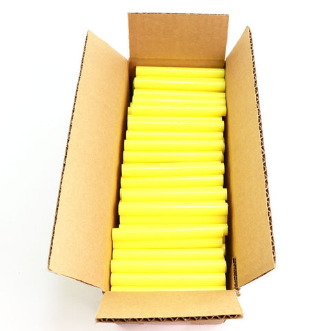 "725R54CYELLOW Full Size 4"" Yellow Color Hot Glue Stick - 5 lb Box"