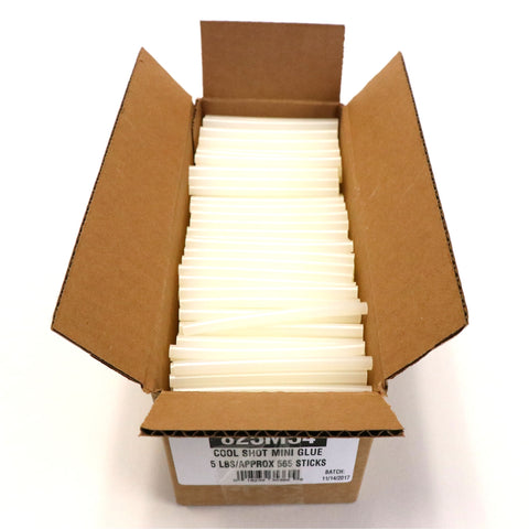 "825M54 Mini Size 4"" Ultra Low Temperature Cool Shot Hot Glue Stick - 5 lb Box"