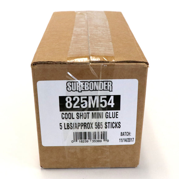 "830M54 Mini Size 4"" Ultra Low Temperature Cool Shot Hot Glue Stick - 5 lb Box - Surebonder"