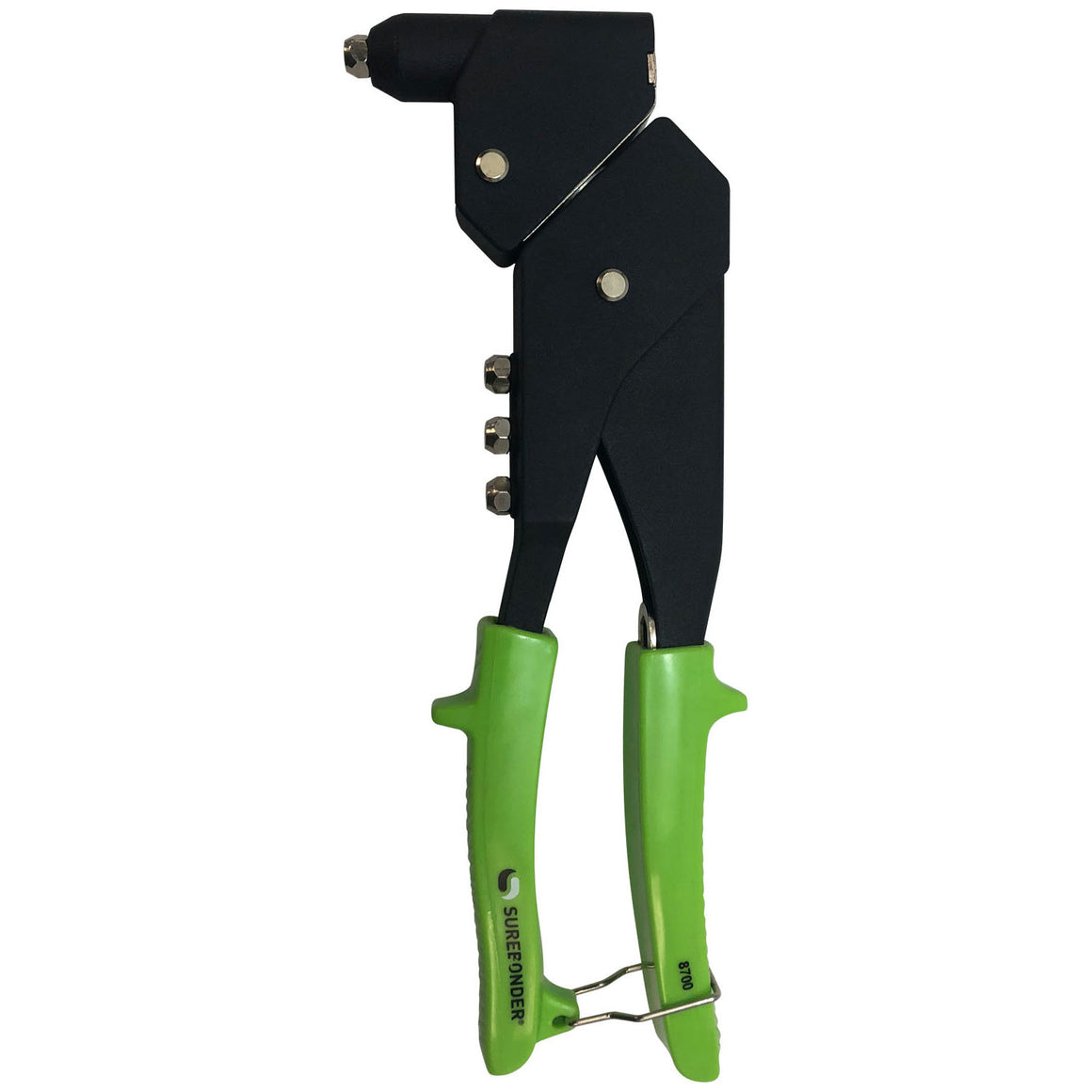 Surebonder swivel head rivet tool, heavy duty, green handle, head rotates 360 degrees, steel construction