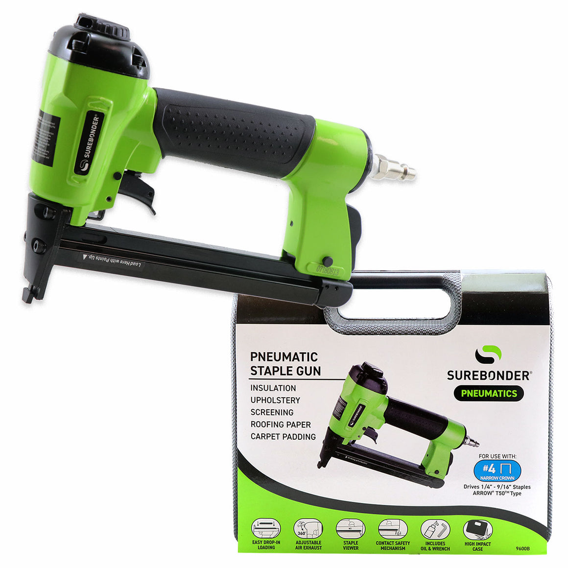 Surebonder pneumatic heavy duty standard T-50 type stapler in green, cushioned grip, 4-piece kit including case, Allen wrench and oil.