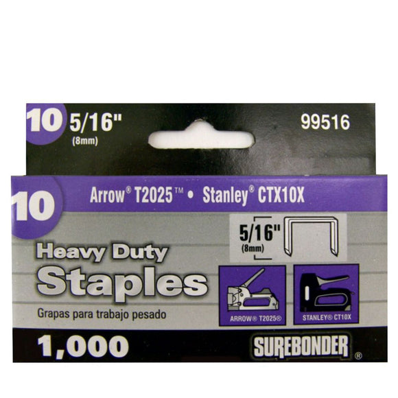 "#10 Heavy Duty 5/16"" Narrow Crown Staples  - 1000 ct."