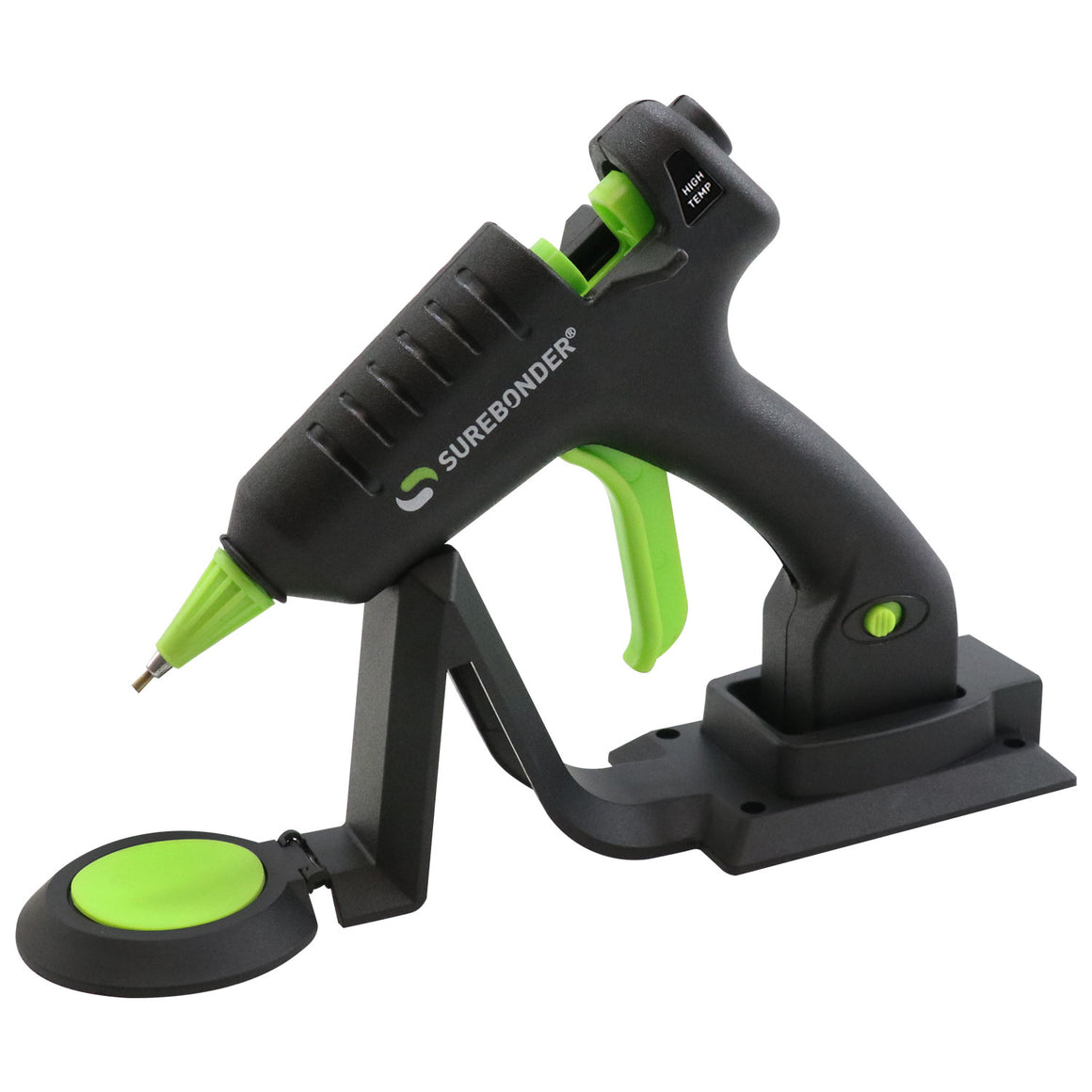 Surebonder mini-size cordless hot glue gun with precise detail tip, resting on heating stand with glue pad, 20 watts, CL-195F