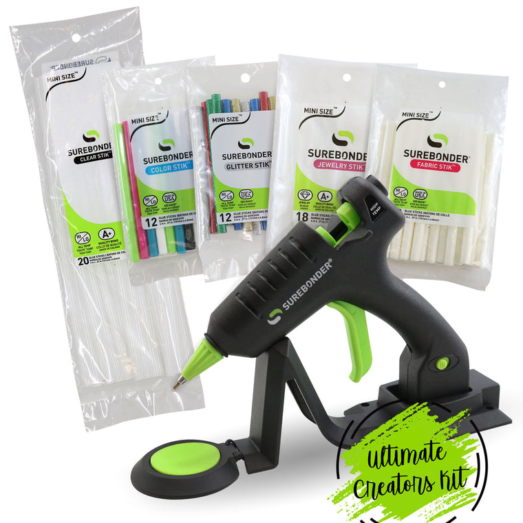 Ultimate Creators Kit, Hot Glue Gun, Surebonder CL-195F Cordless Detail Tip Mini Glue Gun with 80 Specialty Glue Sticks