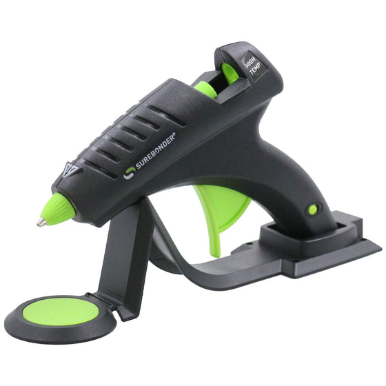 Surebonder's 60-watt full size cordless high temp glue gun, resting on heating stand with glue pad, Specialty Series CL-800F