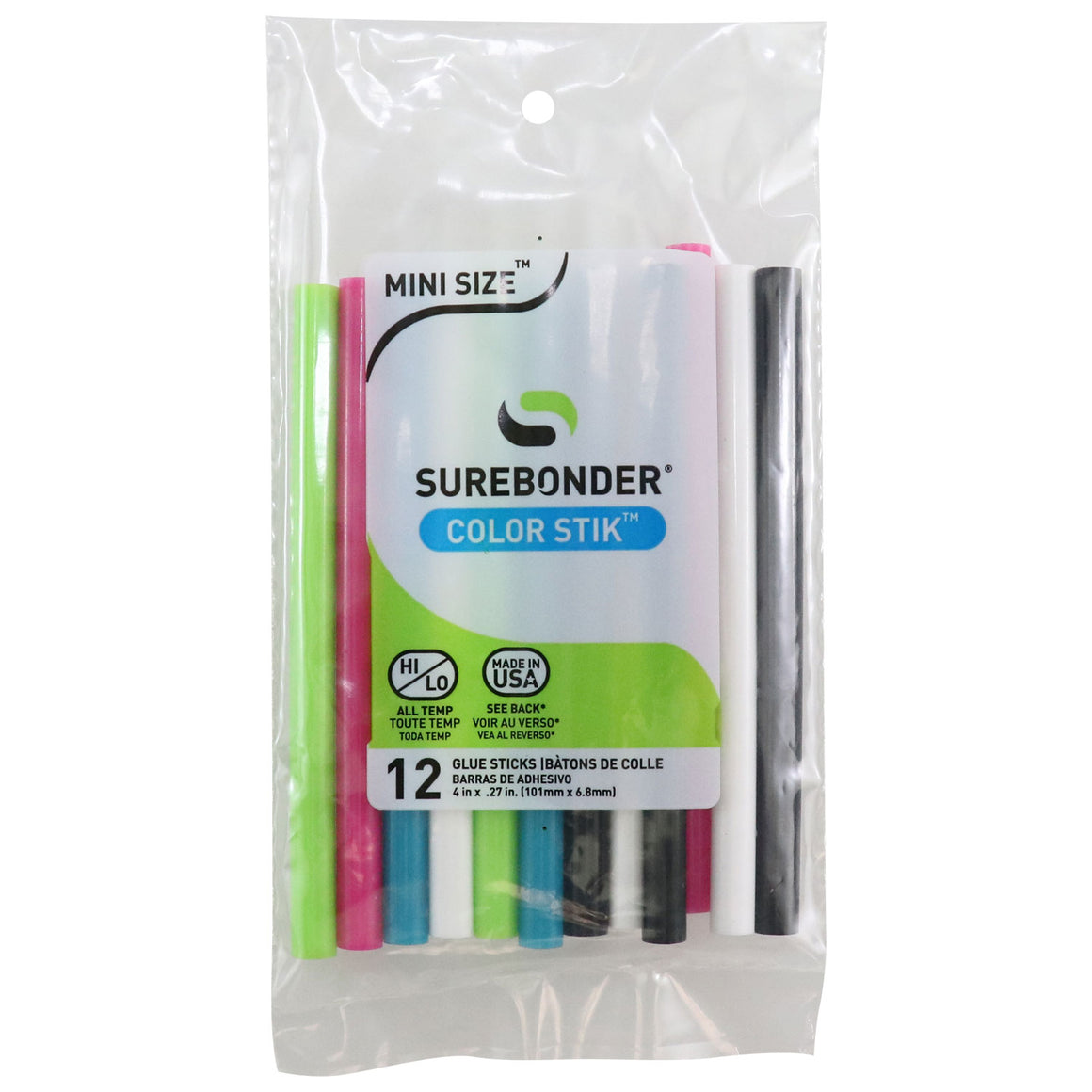 "Surebonder Color Glue Sticks, Pack of 12, Blue, Green, Pink, Black and White, Mini Size 4"", Made in USA, all temperatures"