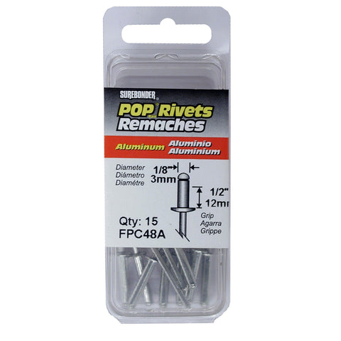 "FPC48A Long Aluminum Rivets - 1/8"" Diameter, 1/2"" Grip - 15 Count"