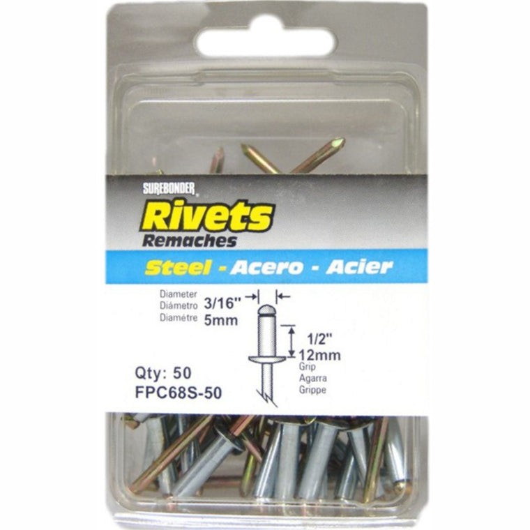 "FPC68S Long Steel Rivets - 3/16"" Diameter, 1/2"" Grip - 12 Count"