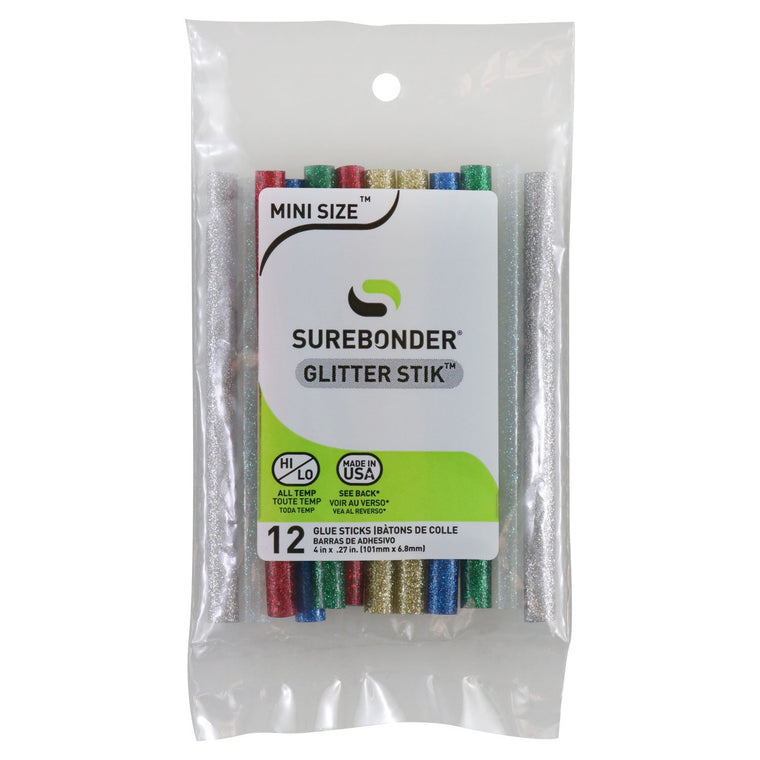 "GL-12V Mini Size 4"" Glitter Hot Glue Stick - 2 ea. Silver, Gold, Blue, Green & Red - 12 Total Colors"