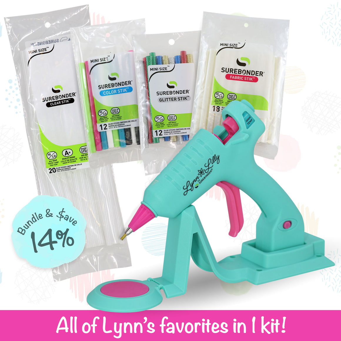 Lynn Lilly Edition Cordless/Corded Detail Tip Mini Glue Gun Kit
