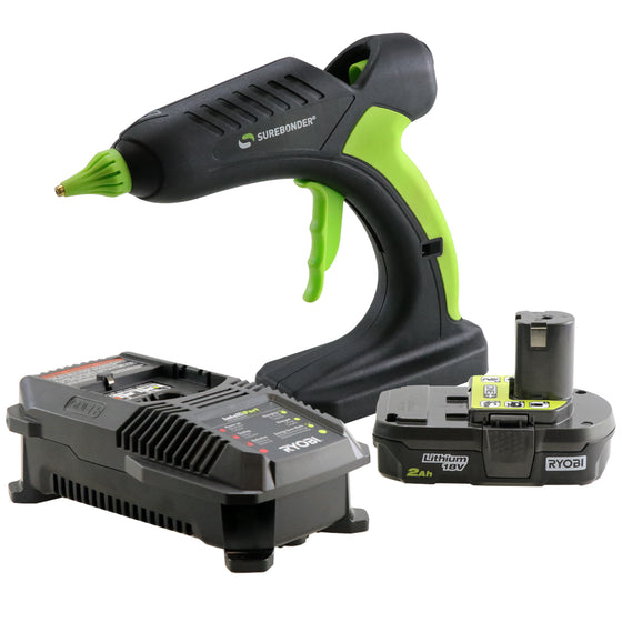 PRO2-60KIT 60 Watt Cordless Professional Heavy Duty Hot Glue Gun Kit-Full Size-Ryobi® Battery & Charger Included