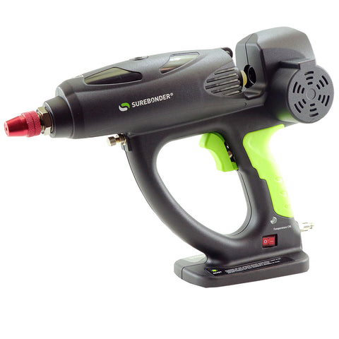 Surebonder hot melt spray glue gun, 500 watt, motorized, uses oversized 5/8 inch glue sticks, comes with case