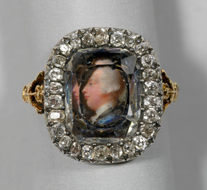 Diamond ring with a miniature portrait of George III given to Queen Charlotte