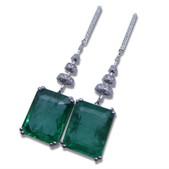 19.18ct. Emerald Cluster Drop Earrings set with 0.48ct Diamonds set in 18kt Yellow Gold custom designed and manufactured by David Saad of Skyjems.ca