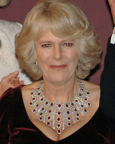 Camilla Parker Bowles, Duchess of Cornwall, wearing her ruby bib necklace