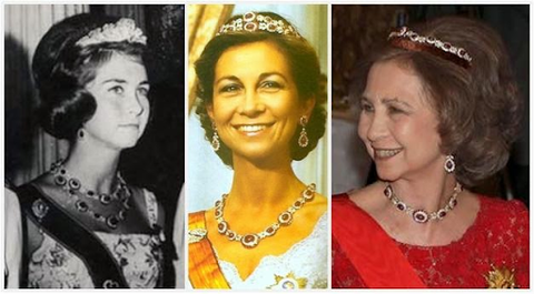Queen Sofia of Spain seen wearing different arrangements of the Niarchos Rubies; from left to right, the Niarchos Rubies as a two layered necklace with earrings, the Niarchos Rubies as a necklace, and two layered tiara with earrings, and the Niarchos Rubies as a necklace with one layered tiara and earrings