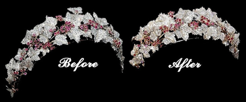 The Danish Ruby Tiara, before and after the modifications made by Princess Mary