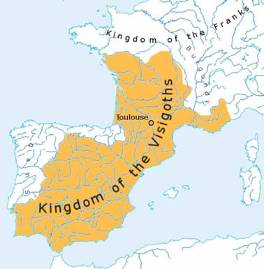 A map depicting the area once controlled by the Visigothic Kingdom