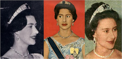 Princess Margaret wearing Queen Mary's Sapphire Bandeau