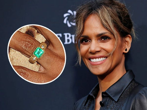 Halle Berry and her unique emerald engagement ring