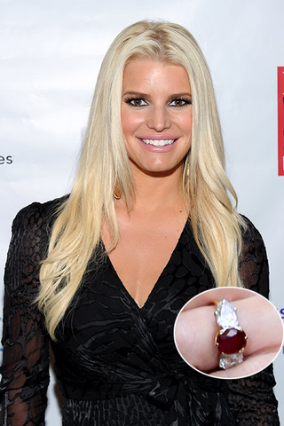 Jessica Simpson and her three stone engagement ring