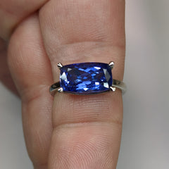 4.90ct GIA Certified Tanzanite in 14k White Gold Solitaire Ring