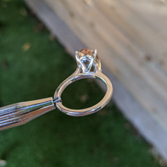 Custom Made Morganite and White Gold Solitaire Ring, custom designed and manufactured by David Saad/Skyjems.ca