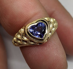 1.46ct Colour Change Unheated Sapphire set in 18k Yellow Gold, custom designed and manufactured by David Saad/Skyjems.ca