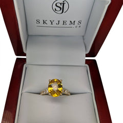 3.06ct Yellow Sapphire & 0.70cts White Sapphire Set in 18kt Yellow Gold