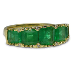 3.32ct Emerald 5 Stone Ring set with 0.03ct. Diamonds set in 18kt Yellow Gold custom designed and manufactured by David Saad of Skyjems.ca