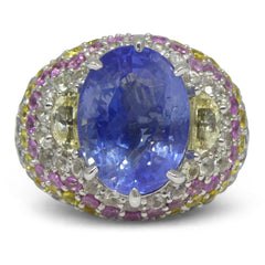 10.03ct Unheated Blue Sapphire Cluster Ring set with 5.00cts of Sapphires in 18kt White Gold custom designed and manufactured by David Saad of Skyjems.ca