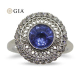 1.30ct Blue Sapphire & Diamond Ring in 18kt White Gold
