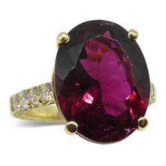 8.08ct. Rubellite Tourmaline Ring set with Diamonds in 18kt Yellow Gold custom designed and manufactured by David Saad of Skyjems.ca