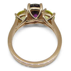 Skyjems Rhodolite Garnet and Greenish Yellow Chrysoberyl Ring in 14kt Rose Gold