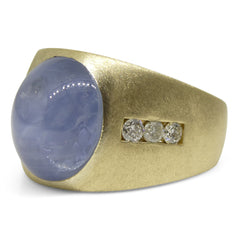 17.98ct. Unheated Star Sapphire Ring set with Diamonds set in 18kt Yellow Gold custom designed and manufactured by David Saad of Skyjems.ca