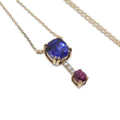 1.75ct Blue Sapphire and Ruby Pendant set with Diamonds set in 18kt Pink Gold custom designed and manufactured by David Saad of Skyjems.ca
