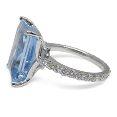 Aquamarine Ring set with Diamonds set in Platinum custom designed and manufactured by David Saad of Skyjems.ca
