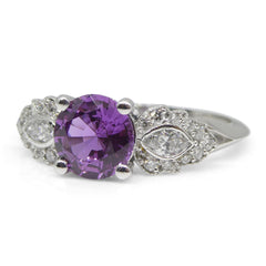 1.27ct Purple Sapphire Cluster Ring set with Diamonds in Platinum custom designed and manufactured by David Saad of Skyjems.ca