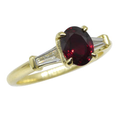 1.02ct Unheated Ruby Ring set with Diamonds in 18kt Yellow Gold custom designed and manufactured by David Saad of Skyjems.ca