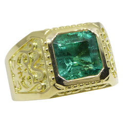 4.2ct Emerald Men's Ring set in 18kt Yellow Gold custom designed and manufactured by David Saad of Skyjems.ca