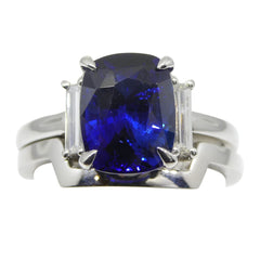3.15ct GRS Certified Royal Blue Sapphire Engagement Ring by David Saad of Skyjems.ca
