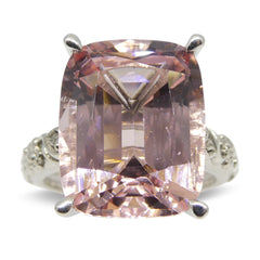 11.69ct Morganite Ring in 14k White Gold