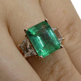 3.85ct Emerald & 0.95ct White Sapphire Ring in 14kt Pink / Rose Gold
