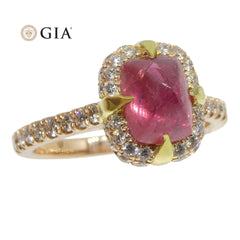 2.14ct Sugar Loaf Ruby & 0.50ct Diamond Ring in 18kt Pink & Yellow Gold GIA Certified