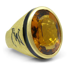 22.15ct. Heliodor Men's Ring set in 18kt Yellow Gold custom designed and manufactured by David Saad of Skyjems.ca