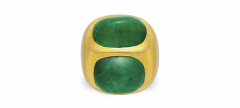 Emerald and Gold Roof Ring by Suzanne Belperron