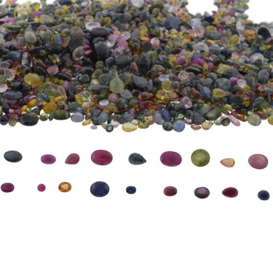 100cts Mixed Multi Colour Natural Sapphire